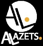 logotipo alazets negativo
